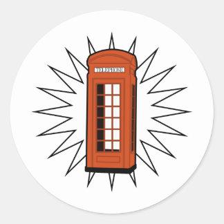 Old British Telephone Box Classic Round Sticker