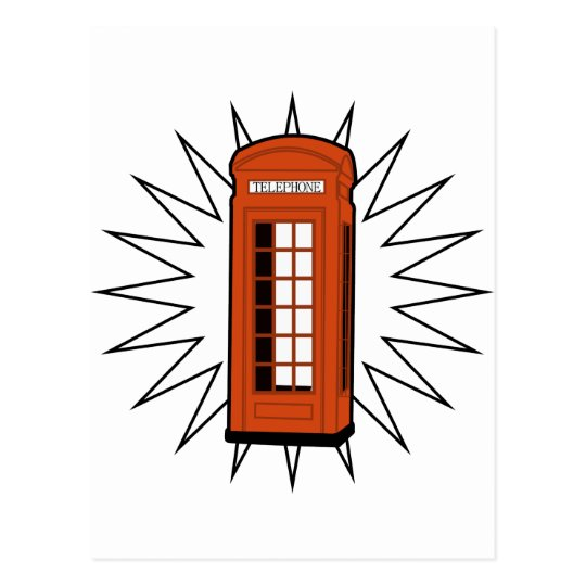 Old British Telephone Box Postcard