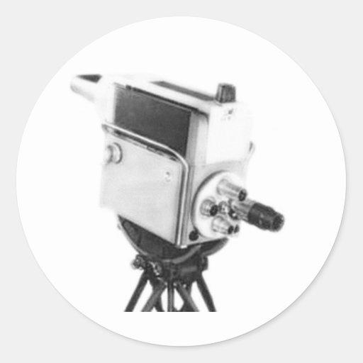Old Broadcast TV Camera TK Classic Round Sticker