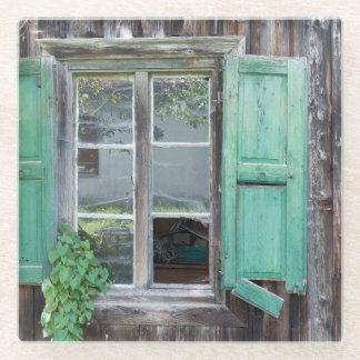 Old Broken Wood Window Glass Coaster