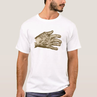 Old Brown Hand Grunge Drawing T-Shirt