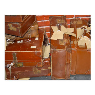 Old Brown Leather Suitcases Postcard