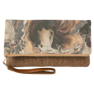 Old Brown Marble texture Liquid paint art Clutch