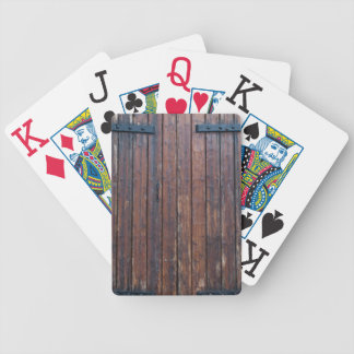 Old Brown Wood Doors With Black Iron Supports Bicycle Playing Cards