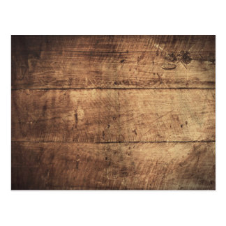 Old brown wooden boards wall design postcard