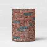 [ Thumbnail: Old Brownish/Reddish Brick Wall Pillar Candle ]