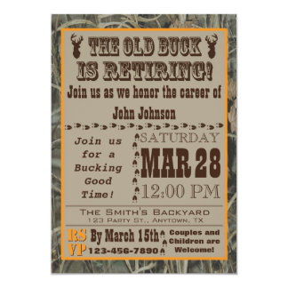 Old Buck Hunting Retirement Invitation with Camo