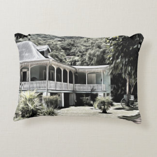 Old Building in Black and White Accent Pillow