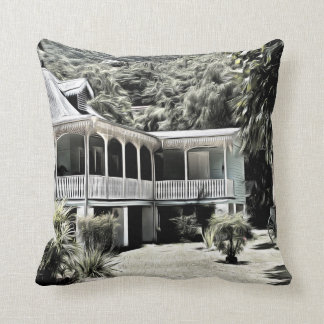 Old Building in Black and White Pillow