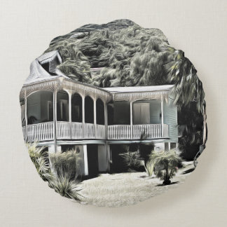 Old Building in Black and White Round Pillow