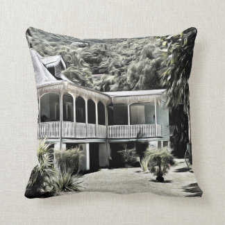 Old Building in Black and White Throw Pillow