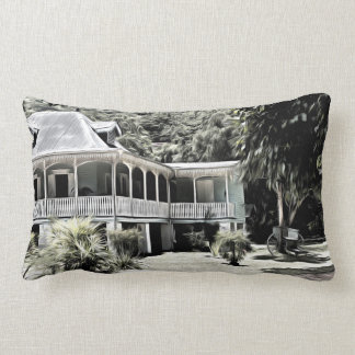 Old Building in Black and White Throw Pillows