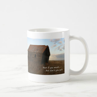 Old building inspirational quote praire coffee cup