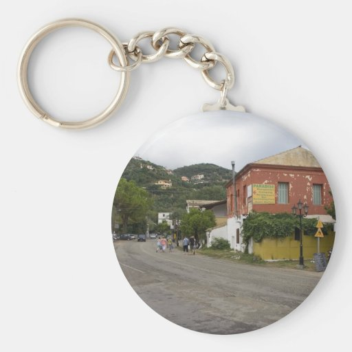 Old Building On The Crossroads In Ipsos On Corfu I Basic Round Button Keychain
