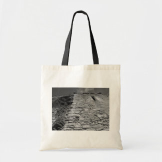 Old building. Stone Wall and Sky. Canvas Bags