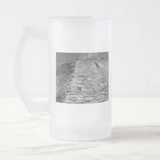Old building. Stone Wall and Sky. Frosted Glass Beer Mug