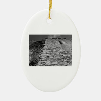 Old building. Stone Wall and Sky. Christmas Tree Ornament