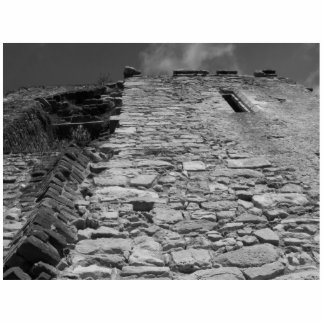 Old building. Stone Wall and Sky. Photo Sculpture Button