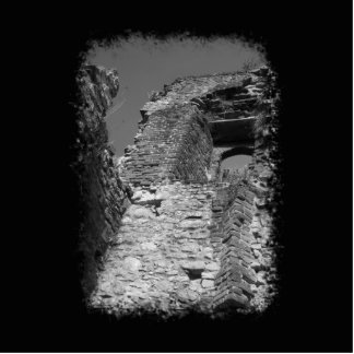 Old building. Stone Walls with Window. Photo Sculpture Button