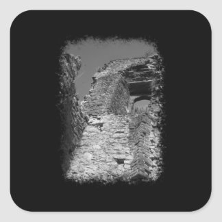 Old building. Stone Walls with Window. Square Sticker