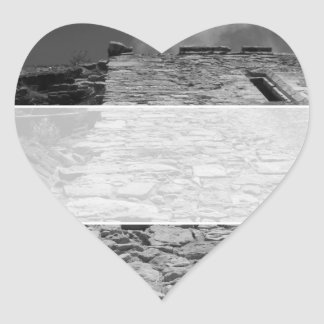Old building. Tall Stone Wall. Heart Sticker