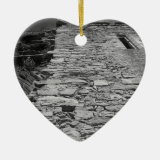 Old building. Tall Stone Wall. Christmas Ornament