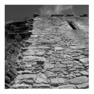 Old building. Tall Stone Wall. Standing Photo Sculpture