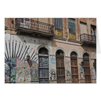 Old Building with Balconies Graffiti & Doors Card