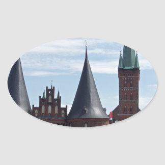 old buildings from luebeck oval sticker