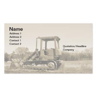 old bulldozer business card