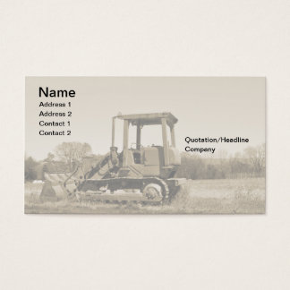 old bulldozer business card