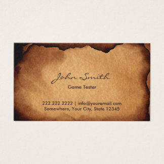 Old Burned Paper Game Testing Business Card