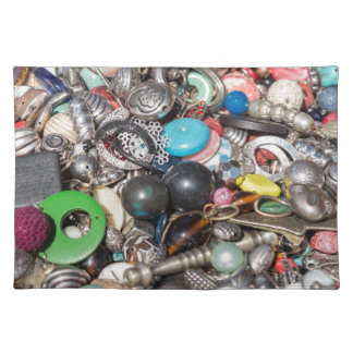 old buttons collection cloth placemat