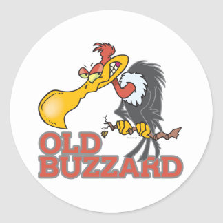 old buzzard funny cartoon character classic round sticker