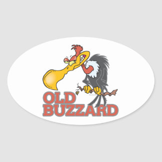 old buzzard funny cartoon character oval sticker