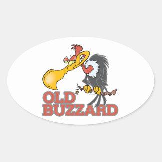 old buzzard funny cartoon character oval sticker