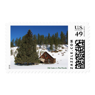 Old Cabin In The Woods Postage Stamp