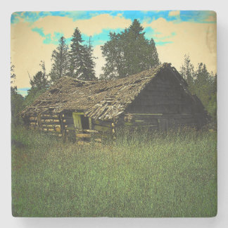 Old Cabin in the Woods Stone Coaster