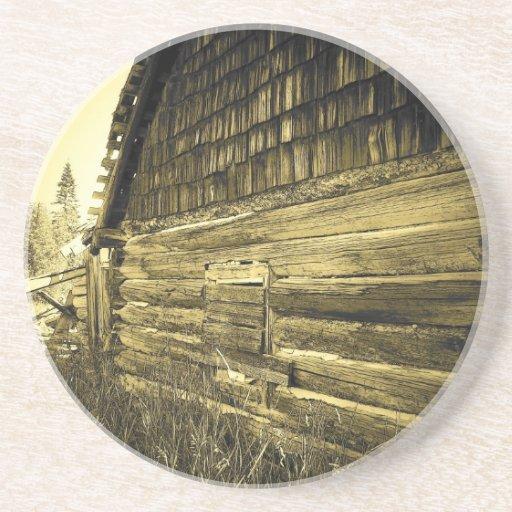 Old cabin sandstone coaster zazzle - Sandstone drink coasters ...