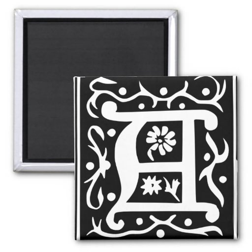 Old Calligraphy Letter A Square Fridge Magnet