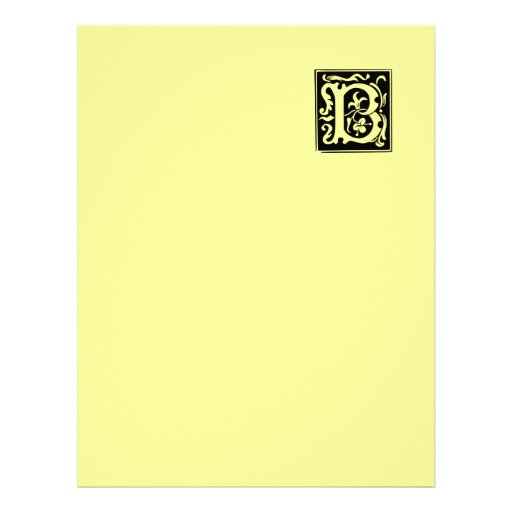 Old Calligraphy Letter B Recycled Letterhead Paper