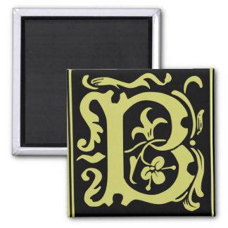 Old Calligraphy Letter B Square Fridge Magnet