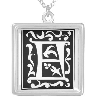 Old Calligraphy Letter F Monogram Silver Necklace