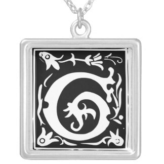 Old Calligraphy Letter G Monogram Silver Necklace