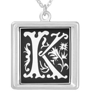 Old Calligraphy Letter K Monogram Silver Necklace