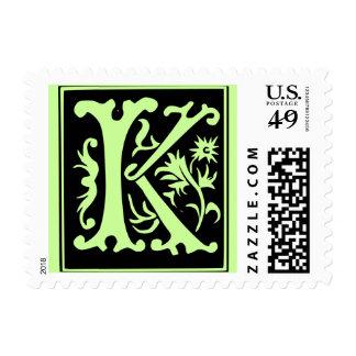Old Calligraphy Letter K Postage Stamp