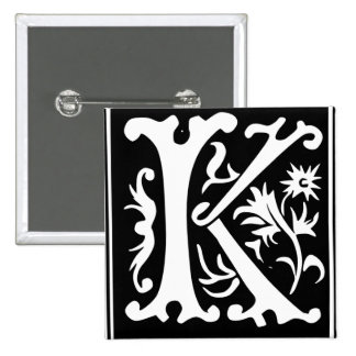 Old Calligraphy Letter K Square Button Pin