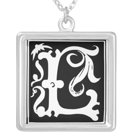 Old Calligraphy Letter L Monogram Silver Necklace