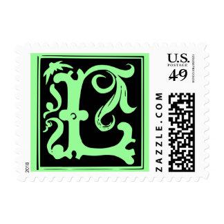 Old Calligraphy Letter L Postage Stamp