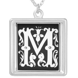 Old Calligraphy Letter M Monogram Silver Necklace